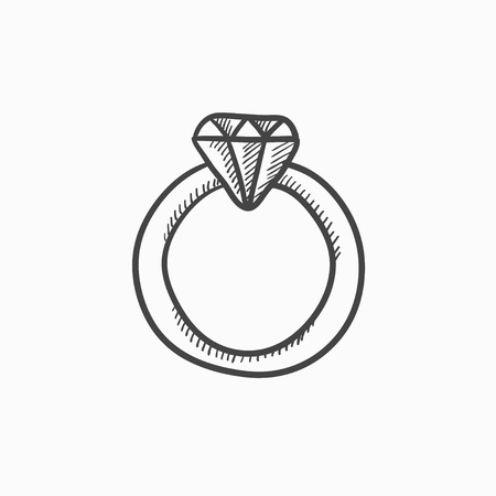 bijou: Diamond ring vector sketch icon isolated on background. Hand drawn Diamond ring icon. Diamond ring sketch icon for infographic, website or app.