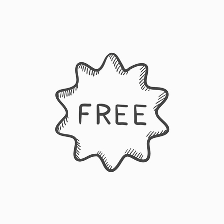 freebie: Free tag vector sketch icon isolated on background. Hand drawn Free tag icon. Free tag sketch icon for infographic, website or app.