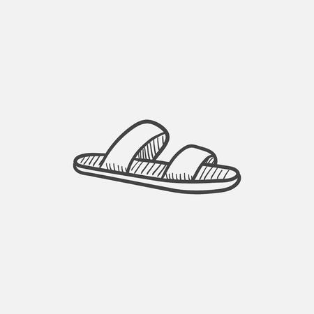 flipflops: Flip-flops vector sketch icon isolated on background. Hand drawn Flip-flops icon. Flip-flops sketch icon for infographic, website or app.
