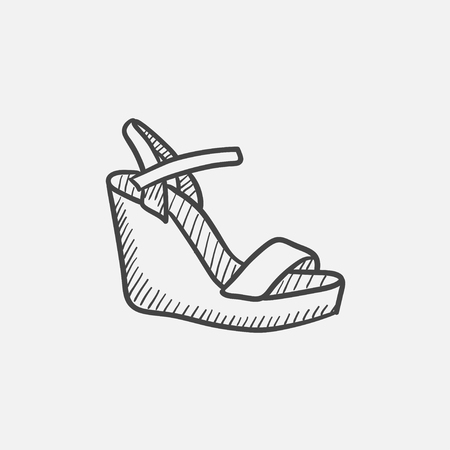 platform: Women platform sandal vector sketch icon isolated on background. Hand drawn Women platform sandal icon. Women platform sandal sketch icon for infographic, website or app. Illustration