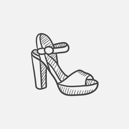 High-heeled sandal vector sketch icon isolated on background. Hand drawn High-heeled sandal icon. High-heeled sandal sketch icon for infographic, website or app. 矢量图像