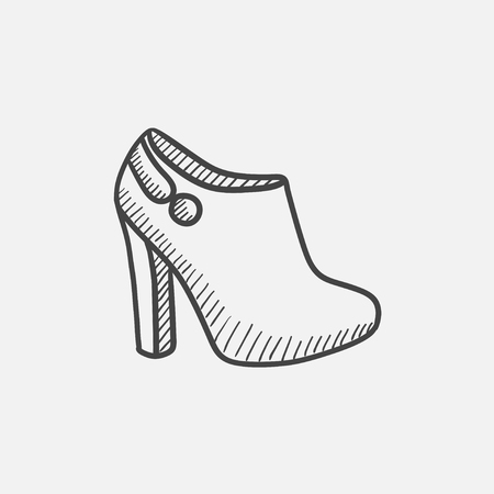 ankle: High-heeled ankle boot vector sketch icon isolated on background. Hand drawn High-heeled ankle boot icon. High-heeled ankle boot sketch icon for infographic, website or app. Illustration