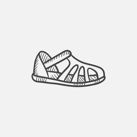 sandalia: Sandalia dibujo icono del vector aislado en el fondo. Dibujado a mano icono de la sandalia. dibujo icono de la sandalia de infografía, sitio web o aplicación.