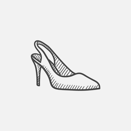 high heel shoe: High heel shoe vector sketch icon isolated on background. Hand drawn High heel shoe icon. High heel shoe sketch icon for infographic, website or app. Illustration