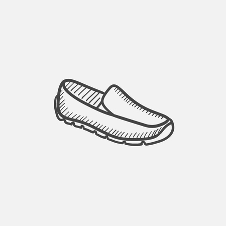 male symbol: Male shoe vector sketch icon isolated on background. Hand drawn Male shoe icon. Male shoe sketch icon for infographic, website or app.