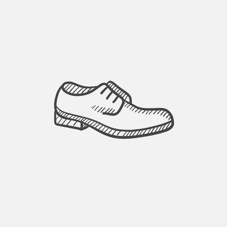 Shoe with shoelaces vector sketch icon isolated on background. Hand drawn Shoe with shoelaces icon. Shoe with shoelaces sketch icon for infographic, website or app. Иллюстрация
