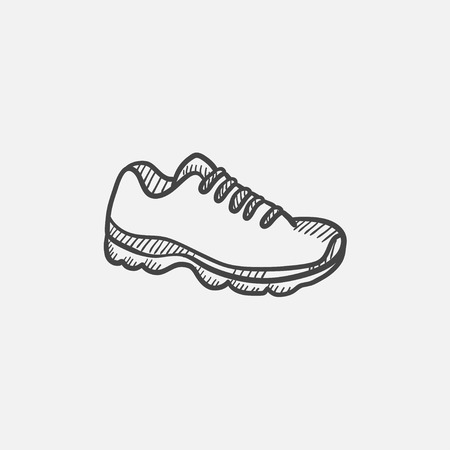 Sneaker vector sketch icon isolated on background. Hand drawn Sneaker icon. Sneaker sketch icon for infographic, website or app. Иллюстрация