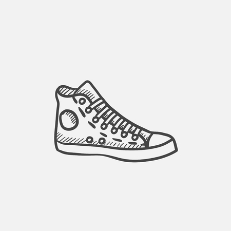 Gumshoes vector sketch icon isolated on background. Hand drawn Gumshoes icon. Gumshoes sketch icon for infographic, website or app.