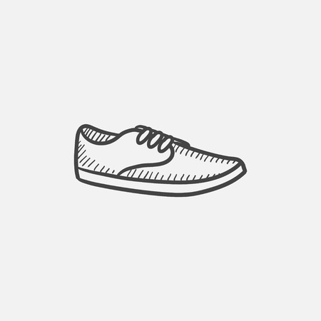 moccasin: Male shoe vector sketch icon isolated on background. Hand drawn Male shoe icon. Male shoe sketch icon for infographic, website or app.
