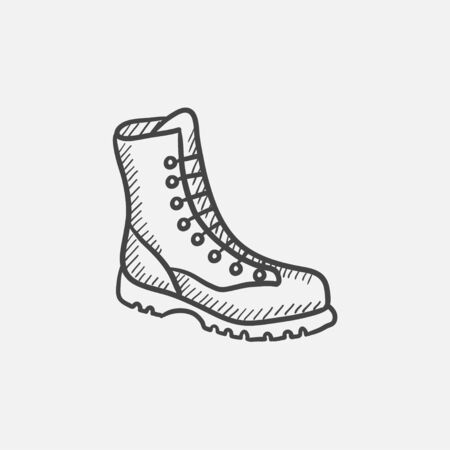 male symbol: Boot with laces vector sketch icon isolated on background. Hand drawn Boot with laces icon. Boot with laces sketch icon for infographic, website or app. Illustration