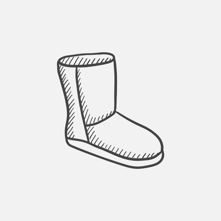 suede: Fuzzy winter boot vector sketch icon isolated on background. Hand drawn Fuzzy winter boot icon. Fuzzy winter boot sketch icon for infographic, website or app.