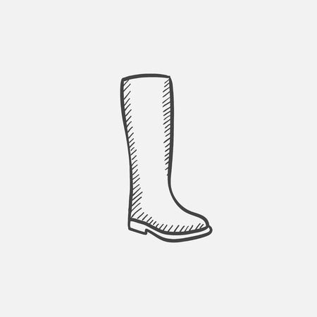 galoshes: High boot vector sketch icon isolated on background. Hand drawn High boot icon. High boot sketch icon for infographic, website or app. Illustration