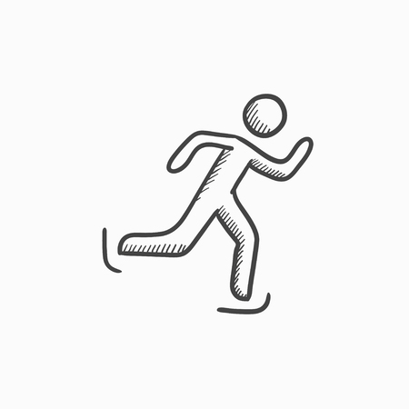 speed skating: Speed skating vector sketch icon isolated on background. Hand drawn Speed skating icon. Speed skating sketch icon for infographic, website or app.