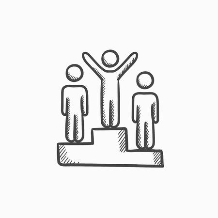 Winners on podium vector sketch icon isolated on background. Hand drawn Winners on podium icon. Winners on podium sketch icon for infographic, website or app. Ilustração