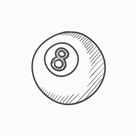 Billard vecteur balle croquis icône isolé sur fond. Hand drawn Billard icône de balle. Billiard ball icône esquisse pour infographie, site Web ou application. Illustration