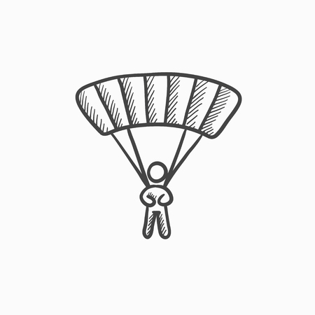 airplay: Skydiving vector sketch icon isolated on background. Hand drawn Skydiving icon. Skydiving sketch icon for infographic, website or app. Illustration