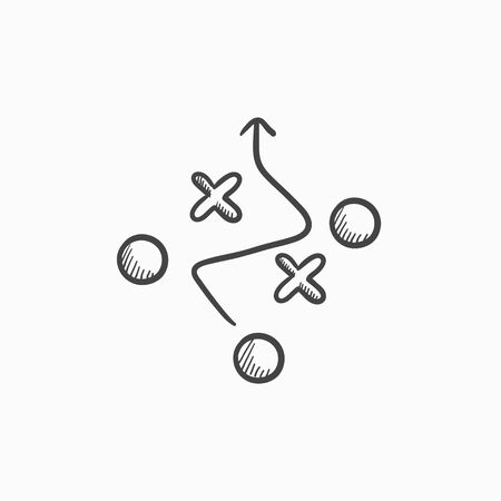 Tactical plan vector sketch icon isolated on background. Hand drawn Tactical plan icon. Tactical plan sketch icon for infographic, website or app. Illustration