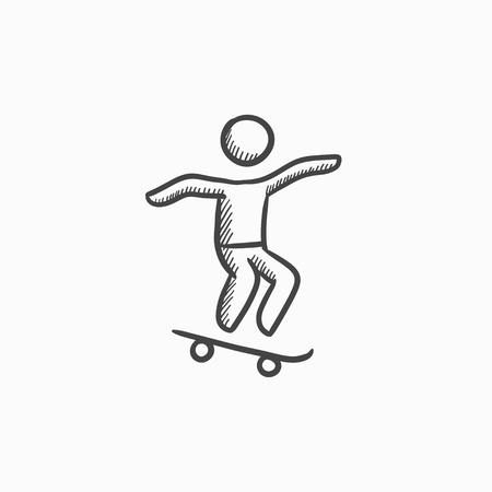 Man riding on skateboard vector sketch icon isolated on background. Hand drawn Man riding on skateboard icon. Man riding on skateboard sketch icon for infographic, website or app.