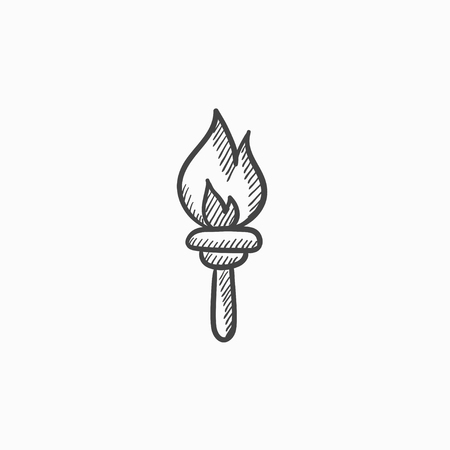 Burning olympic torch vector sketch icon isolated on background. Hand drawn Burning olympic torch icon. Burning olympic torch sketch icon for infographic, website or app. Illustration