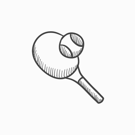 Tennis racket and ball vector sketch icon isolated on background. Hand drawn Tennis racket and ball icon. Tennis racket and ball sketch icon for infographic, website or app. Illustration