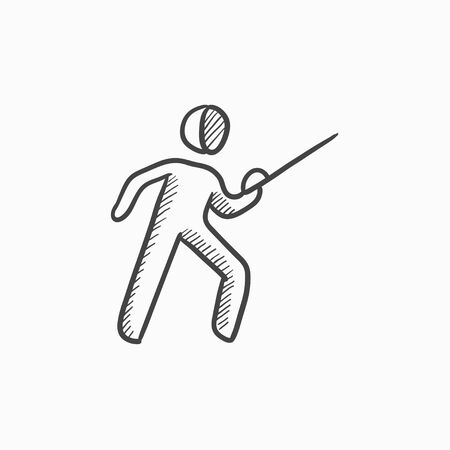 Fencing vector sketch icon isolated on background. Hand drawn Fencing icon. Fencing sketch icon for infographic, website or app.
