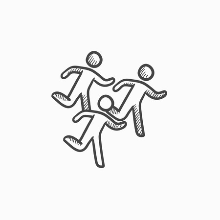 sport man: Running men vector sketch icon isolated on background. Hand drawn Running men icon. Running men sketch icon for infographic, website or app. Illustration