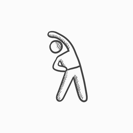 Man making exercises vector sketch icon isolated on background. Hand drawn Man making exercises icon. Man making exercises sketch icon for infographic, website or app. Stock Illustratie