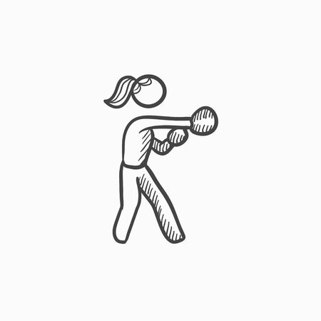 female boxer: Female boxer vector sketch icon isolated on background. Hand drawn Female boxer icon. Female boxer sketch icon for infographic, website or app.