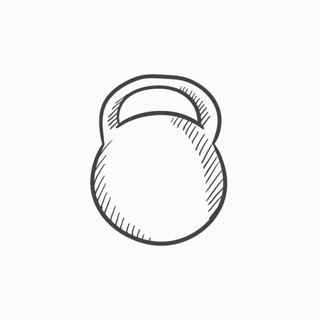 Kettlebell vector sketch icon isolated on background. Hand drawn Kettlebell icon. Kettlebell sketch icon for infographic, website or app. Illustration