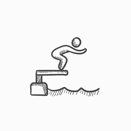 diving platform: Swimmer jumping from starting block in pool vector sketch icon isolated on background. Hand drawn Swimmer jumping in pool icon. Swimmer jumping in pool sketch icon for infographic, website or app.