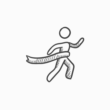 sport man: Winner crossing finish vector sketch icon isolated on background. Hand drawn Winner crossing finish icon. Winner crossing finish sketch icon for infographic, website or app. Illustration