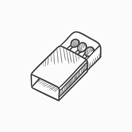 matchbox: Matchbox vector sketch icon isolated on background. Hand drawn Matchbox icon. Matchbox sketch icon for infographic, website or app. Illustration