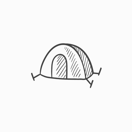 Tent vector sketch icon isolated on background. Hand drawn Tent icon. Tent sketch icon for infographic, website or app. Illustration