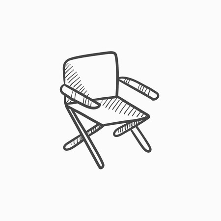 Folding chair vector sketch icon isolated on background. Hand drawn Folding chair icon. Folding chair sketch icon for infographic, website or app. Illustration