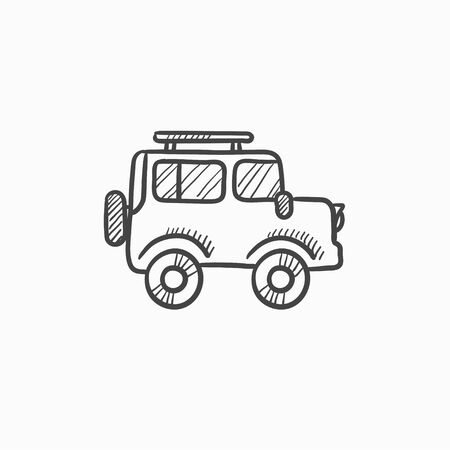 family van: Car vector sketch icon isolated on background. Hand drawn Car icon. Car sketch icon for infographic, website or app.