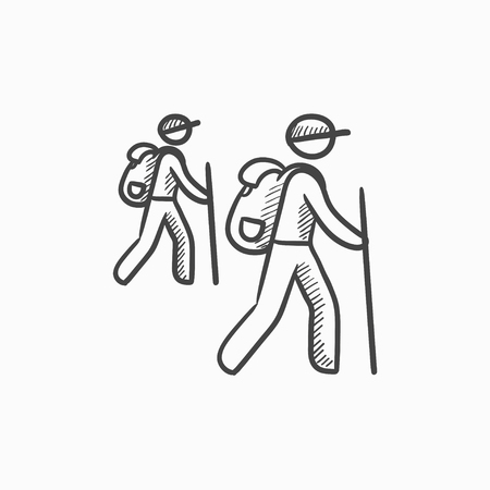 backpackers: Tourist backpackers vector sketch icon isolated on background. Hand drawn Tourist backpackers icon. Tourist backpackers sketch icon for infographic, website or app.