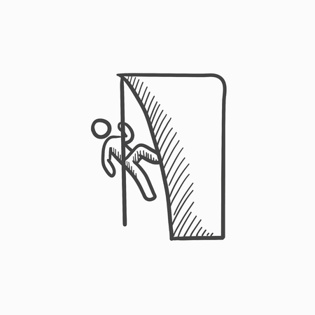 Rock climber vector sketch icon isolated on background. Hand drawn Rock climber icon. Rock climber sketch icon for infographic, website or app. Ilustração