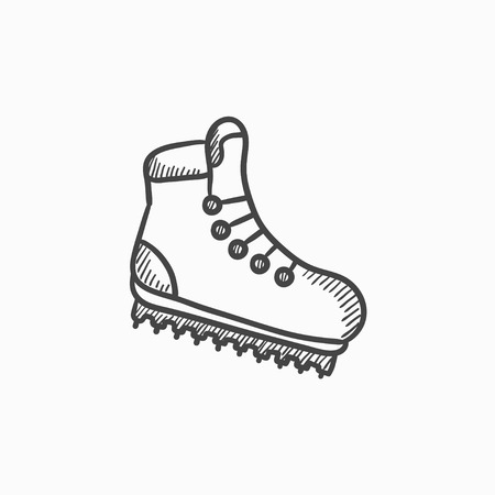 hiking boot: Hiking boot with crampons vector sketch icon isolated on background. Hand drawn Hiking boot with crampons icon. Hiking boot with crampons sketch icon for infographic, website or app. Illustration