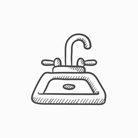 cleanliness: Sink vector sketch icon isolated on background. Hand drawn Sink icon. Sink sketch icon for infographic, website or app. Illustration