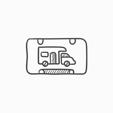 rv: RV camping sign vector sketch icon isolated on background. Hand drawn RV camping sign icon. RV camping sign sketch icon for infographic, website or app.
