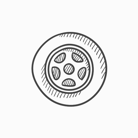 ring road: Car wheel vector sketch icon isolated on background. Hand drawn Car wheel icon. Car wheel sketch icon for infographic, website or app.