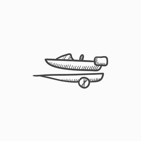 Boat on trailer for transportation vector sketch icon isolated on background. Hand drawn Boat on trailer for transportation icon. Boat on trailer sketch icon for infographic, website or app. 向量圖像
