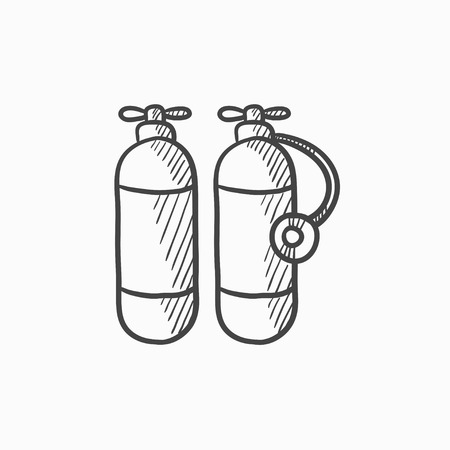 compressed air: Oxygen tank vector sketch icon isolated on background. Hand drawn Oxygen tank icon. Oxygen tank sketch icon for infographic, website or app.