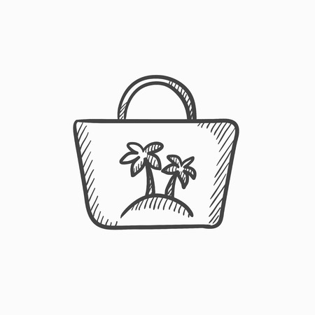 beach bag: Beach bag  vector sketch icon isolated on background. Hand drawn Beach bag  icon. Beach bag  sketch icon for infographic, website or app. Illustration