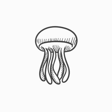 Jellyfish vector sketch icon isolated on background. Hand drawn Jellyfish icon. Jellyfish sketch icon for infographic, website or app. Illustration
