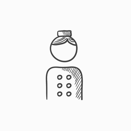 doorkeeper: Bellboy vector sketch icon isolated on background. Hand drawn Bellboy icon. Bellboy sketch icon for infographic, website or app.