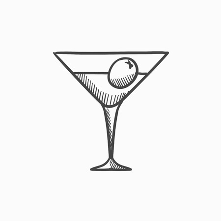 vermouth: Cocktail glass vector sketch icon isolated on background. Hand drawn Cocktail glass icon. Cocktail glass sketch icon for infographic, website or app. Illustration