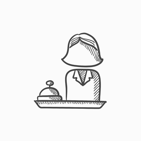 receptionist: Female receptionist vector sketch icon isolated on background. Hand drawn Female receptionist icon. Female receptionist sketch icon for infographic, website or app.