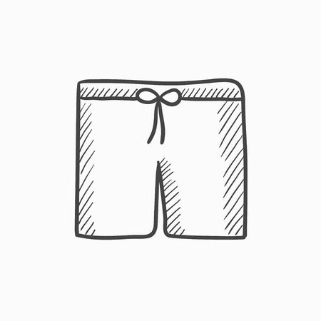水泳パンツはベクトル背景に分離されたスケッチ アイコンです。手描きの水泳パンツ アイコン。水泳パンツは、インフォ グラフィック、web サイト  イラスト・ベクター素材
