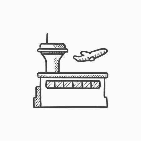 Flacher Start-Symbol Vektor-Skizze isoliert auf den Hintergrund. Hand gezeichnet Flacher Start-Symbol. Flacher Start Skizze Symbol für Infografik, die Website oder App. Vektorgrafik